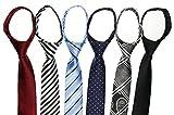 Tiger Mama 6pcs Zipper Skinny Tie Pre-tied Business Skinny Necktie Mixed Lot (SET-13)