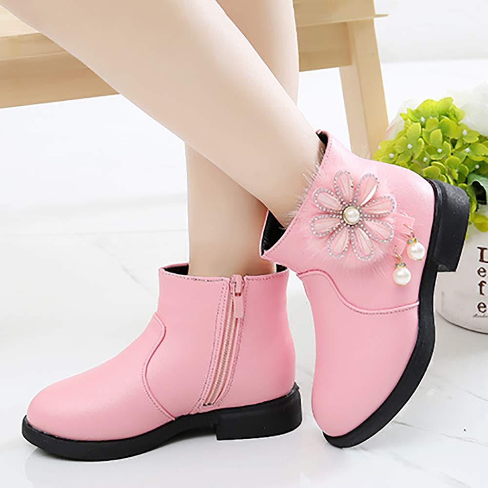 Toddler//Little Kid UBELLA Girls Sweet Flower Waterproof Side Zipper Faux Fur Lined Winter Snow Boots