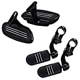 Completed Black CNC Streamline Rear Passenger Footboard Floor Boards + Highway Foot Pegs Tube Bar 1 1/4'' Mount Kit for Harley
