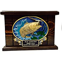 Cremation Urn, Wood Urn, Bass Fish Urn, Wooden Funeral...