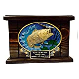 Cremation Urn, Wood Urn, Bass Fish Urn, Wooden Funeral Urn with Engraving