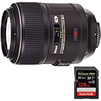 Nikon (2160) 105mm f/2.8G ED-IF AF-S VR Micro-Nikkor Close-up Lens with Sandisk Extreme PRO SDXC 128GB UHS-1 Memory Card