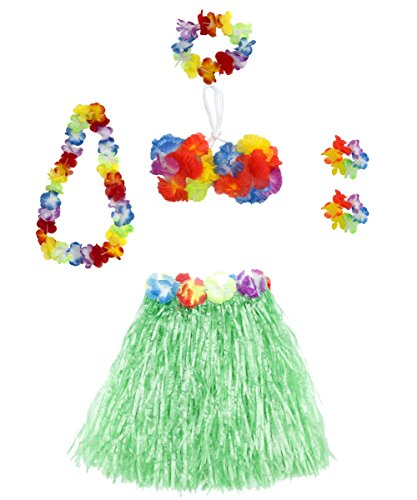 6 Pieces Girl's Hawaiian Hula Skirt fedio Grass Skirt set with Hawaiian Luau Party leis and Bra for Children Ages 3-8 (Green)