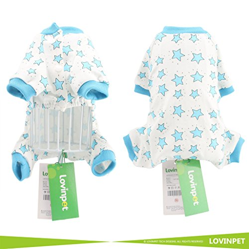 LovinPet-Adorable-Dog-Pajamas-Safe-Snap-Buttons-For-Small-Dog-Onesie-Pet-Pjs-with-Star-Printed-Blue-Dog-Jumpsuit-XXL