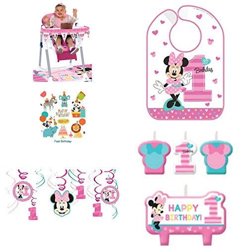 (1st Birthday Minnie Mouse Birthday Party Decorations Supply Pack Includes Hanging Decorations, High Chair Decorations, Bib, and Candle Set Party Supplies Minnie Fun to be)