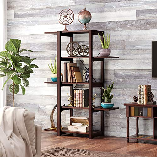 VASAGLE Bookshelf, 5-Tier Bookcase with Solid Wood Legs, Shelving Unit for Living Room, Kitchen, Office, Country Brown ULLS02GL