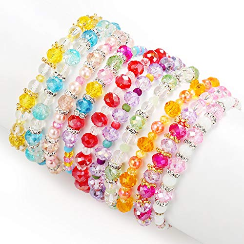 PinkSheep Friendship Bracelets for Kids, Crystal Beaded Bracelets, 10 PC, Princess Charm Bracelet