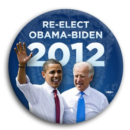 Re-Elect Obama Biden 2012 Photo Button. Show your support for the Obama-Biden ticket in 2012 with this button. This celluloid button measures 3