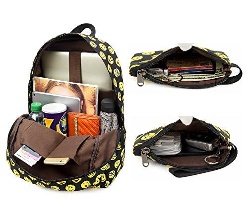 Tibes Zaino Scuola Elementare Bambina Cartella Scuola Zaino In Tela Schoolbag Espressione Zaino Borse Scolastiche C nero 1 (set 3pcs)