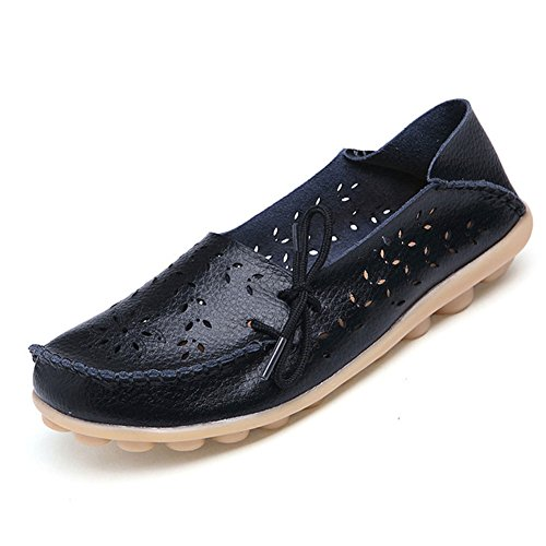 DUOYANGJIASHA Women's Leather Loafers Slip On Flats Casual Round Toe Moccasins Wild Breathable Comfortable Driving Fashion Soft Shoes Black