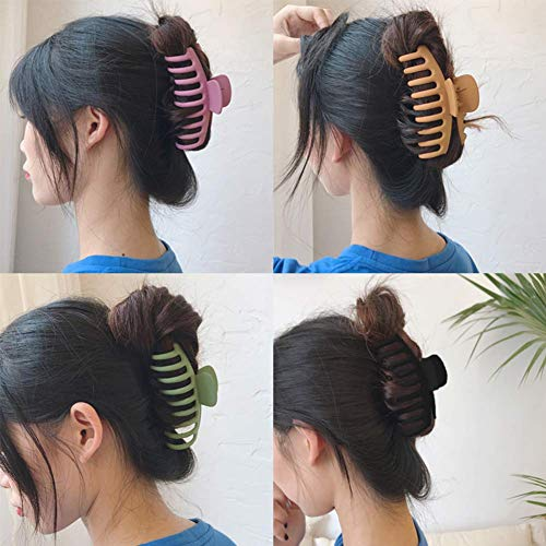4 PCS Big Hair Claw Clips, MatteNonslip Large Hair Claw Clips for Women and Girls Thin Hair, Strong Hold for Thick Hair - Fashion Accessories for Women, 4 Colors Avaliable