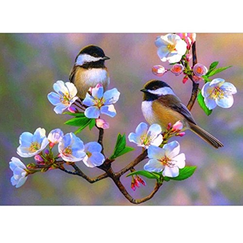 24x34cm5D Diamond Painting Cherry Blossom Chickadees Bird Mosaic Picture Handmade Rhinestone Needlework Diamond Embroidery ()