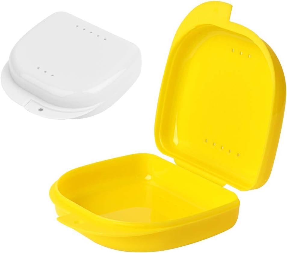 Y-Kelin 2 PCS Retenedor de ortodoncia Contenedor Retenedor Caja de dentadura parcial (Amarillo + blanco): Amazon.es: Salud y cuidado personal