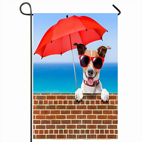 Ahawoso Seasonal Garden Flag 12x18 Inches Recreation Blue Beach Summer Vacation Dog Behind Stonewall Doggy Red Sports Glasses Jack Design Fun Home Decorative Outdoor Double Sided House Yard Sign