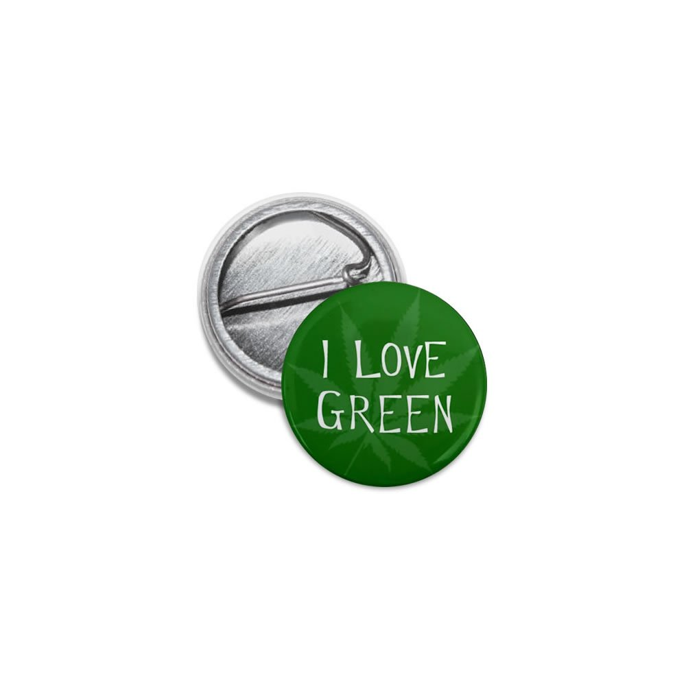 I Love Green Marijuana Pot Leaf 100-Pack 1 inch Mini Pinback Button Badges