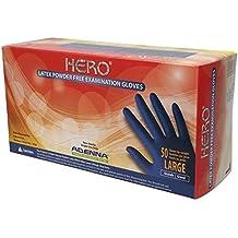 Adenna Hero 14 mil Latex Powder Free Exam Gloves (Blue, Large) Box of 50
