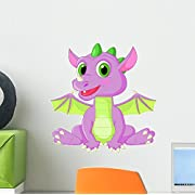 Cute Baby Dragon Cartoon Wall Decal by Wallmonkeys Peel and Stick Graphic (12 in H x 12 in W) WM212692