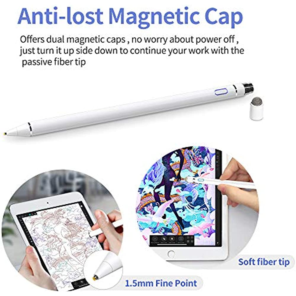 Drawing and Handwriting on Touch Screen Smartphones /& Tablets White Chilison Active Stylus Digital Pen for Touch Screens,Pencil Compatible for iPad iPhone Samsung /&Tablets iOS//Android