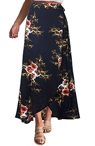 201c6f4c65 Yonala Womens Boho Floral Tie Up Waist Summer Beach Wrap Cover Up Maxi Skirt  (S