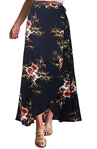 Yonala Womens Boho Floral Tie Up Waist Summer Beach Wrap Cover Up Maxi Skirt (XL, Navy Blue) ()