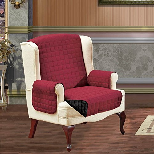 Elegant Comfort QUILTED REVERSIBLE FURNITURE PROTECTOR for Pet Dog Children Kids with TIES TO PREVENT SLIPPING OFF Burgundy/Black Wing Chair (Burgundy Wing Chair Slipcover)