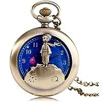 Rostop Reloj de Bolsillo de Cuarzo con diseño de El Principito a la Moda, con Cara de Planeta Azul, con Cadena de Collar, Ideal para Regalo de cumpleaños o de Navidad, para Hombres