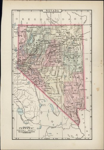 Nevada Gold Hill Virginia city 1890's charming old state map original hand color
