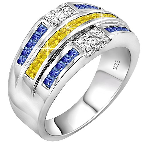 Men's Sterling Silver .925 Ring Featuring 32 Yellow, White, and Blue Baguette and Square Cubic Zirconia (CZ) Stones, Platinum Plated Jewelry