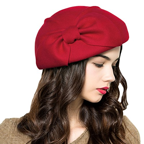Maitose Women's Decorative Bow Wool Beret Cap Red