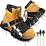 [2019 Upgraded] Aerator Shoes, Lawn Aerator Shoes with 8 Double Layers Straps, 3 Shovels to Clean Shoes, Heavy Duty Aerating Shoes Withstand Up to 400LB, Newest Designed Spikes to Aerating Lawn, Yard