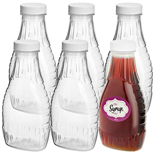 Pack of 6 - Empty Plastic Bottles for Sauce- Clear Salad Dressing Bottle with Lids and Labels -Refill Homemade Dressing Containers -- Wide Mouth For Easy Refill And Dispensing - Food Safe BPA Free