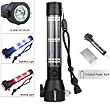 PENATE 2in1 Solar Power Bank Flashlight 3 Modes 3 Color Portable Rechargeable Built-in Compass Designed With Safety Hammer Flashlight Handlamp Torch SMD LED Tactical Flashlight + Battery