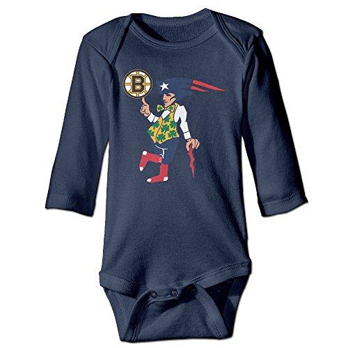 NINJOE NewBorn Boston Fan Sport Flag Long Sleeve Bodysuit Baby Onesie Navy 6 M - Best Nhl Halloween Costumes