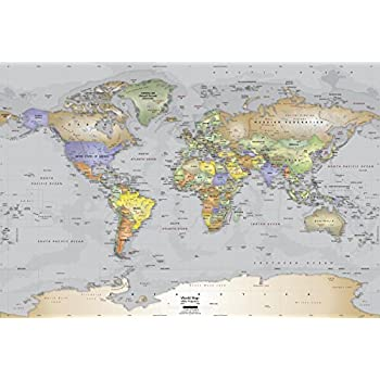 Academia Maps   World Map Wall Mural   Gray Ocean Political Map   Premium  Self  Part 57