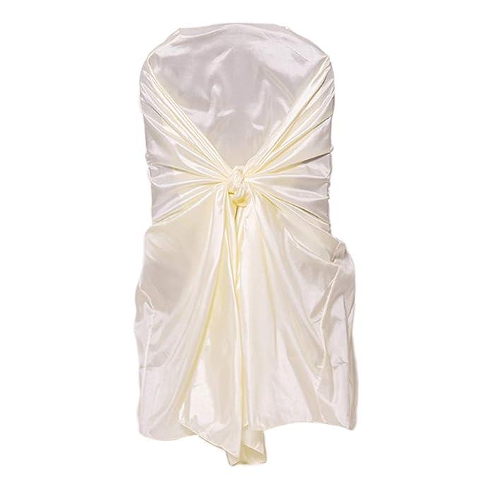 50 Fundas de saten para sillas con lazos - Cubierta de silla extraíble y lavable ideal para fiestas, bodas.