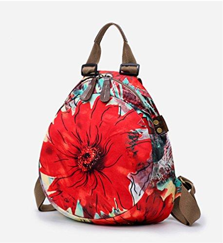 YAANCUN Mochila de Moda Ligera de Impresión de Flores Mochila Para Mujeres Damas, Bolsa Casual para Escuela Calle Viaje y Compras Rojo Floral