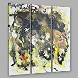 XGHC Hand Painted Modern Abstract Black & Yellow Mix Color Splash Oil Painting On Canvas Set of 3 with Stretched Frame Wall Art For Home Decoration , include inner frame , 12 x 36