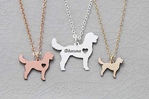 - Goldendoodle Necklace - IBD - Golden Poo Doodle Poodle - Personalize Name Date - Pendant Size Options - 935 Sterling Silver 14K Rose Gold Filled Charm