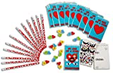 Decorate your Valentine Notepads with Funny Face Stickers, Matching Pencils, and Candy Heart Erasers - Set for 12 Kids (48 Piece Bundle)