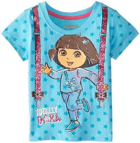 Nickelodeon Little Girls' Short Sleeve Dora Tee with Stars, Ocean Wind, 3T