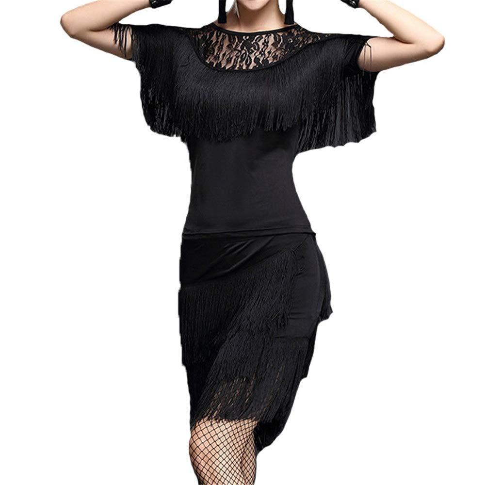 Noir grand Robe de danse pour femmes Femmes Glands Tango Rumba Robe De Danse Latine Outfit Haut à Manches Chauve-Souris En Dentelle Avec Jupe Danse Formation Pratique Robe Costume De Spectacle Jupe perforhommece d