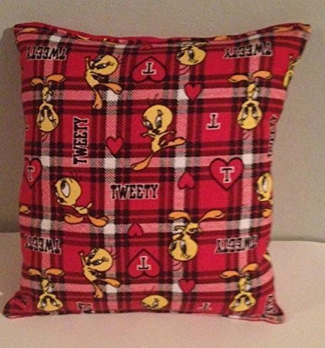 tweety-bird-pillow-tweetie-bird-wb-plaid-handmade-in-usa-pillow-is-approximately-10-x-11-active