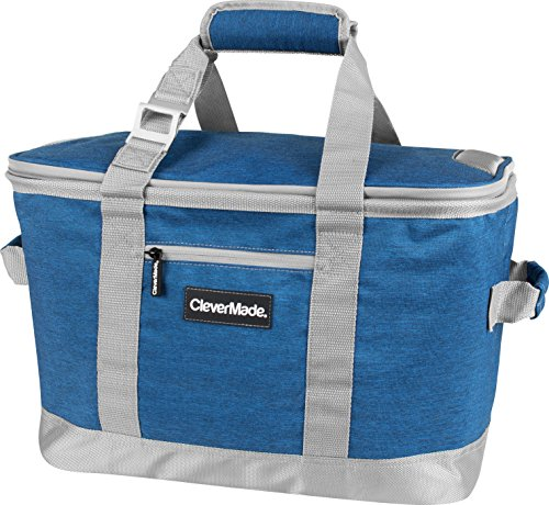 CleverMade Collapsible Cooler Bag: Insulated Leakproof 50 Can Soft Sided Portable Beverage Tote with Bottle Opener & Storage Pockets, Blue/Grey
