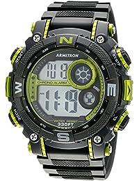 Armitron Men's 40/8284LGN Lime Green Accented Digital Chronograph Black Resin Strap Watch