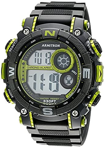 Armitron Men's 40/8284LGN Lime Green Accented Digital Chronograph Black Resin Strap Watch (Chrono Watch Sport)