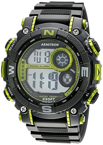 Watch Sports 100m (Armitron Men's 40/8284LGN Lime Green Accented Digital Chronograph Black Resin Strap Watch)