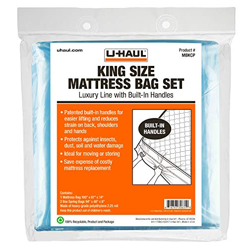 U-Haul Deluxe King Mattress and Box Spring Bag Set - Moving and Storage Protection Cover - 2.25 Mil - Includes 1 Mattress Bag, 2 Box Spring Bags