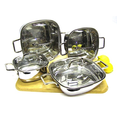 8-piece Induction Ready Heavy Duty 18/10 Stainless Steel Unique Square Cookware Set with Vented Glass Lids
