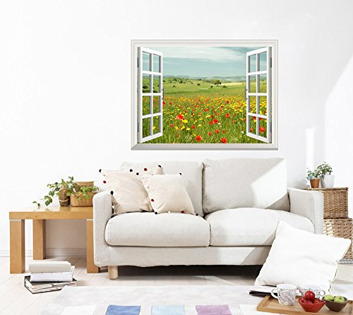 """Removable Wall Sticker/Wall Mural - Beautiful Spring Field with Wild Flowers   Creative Window View Wall Decor - 24""""x32"""""""