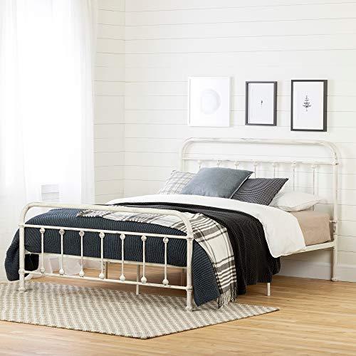 South Shore 12320 Prairie Metal Platform Bed-Queen-White Shabby Chic ()